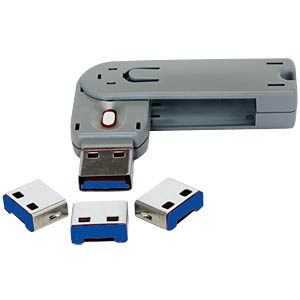 4x USB Schloss/Abdeckung für USB Ports, Blau EXSYS EX-1112-B