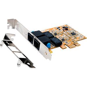Netzwerkkarte, PCI Express, Gigabit Ethernet, 2x RJ45 EXSYS EX-6072-4K
