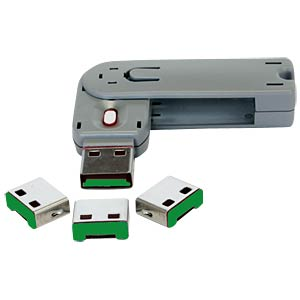 4x USB locks/covers for USB ports, green EXSYS EX-1112-G