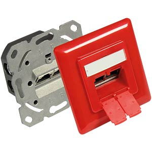 RJ45 socket, CAT.6, UP, traffic red GOOD CONNECTIONS GC-N0052R