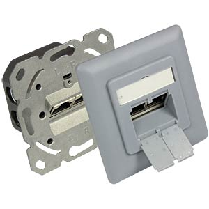 RJ45 socket, CAT.6a, UP, silver gray GOOD CONNECTIONS GC-N0051SG