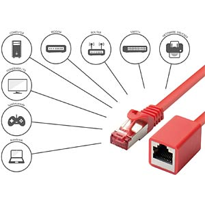 Patch cable extension, cat.6, red, 0.5 m GOOD CONNECTIONS 8063VR-005R