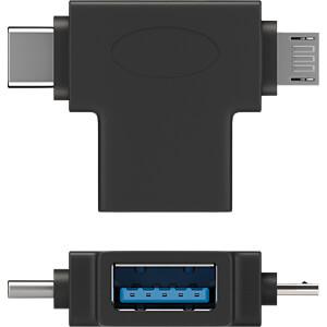 Goobay T-Adapter USB-A auf USB 2.0 Micro-B, USB-A, schwarz GOOBAY 55554