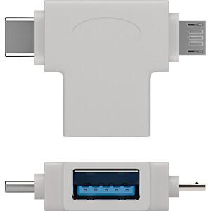 Goobay T-Adapter USB-A auf USB 2.0 Micro-B, USB-A, weiß GOOBAY 55555