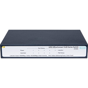 Switch, 5-Port, Gigabit Ethernet, PoE HEWLETT PACKARD ENTERPRISE JH328A