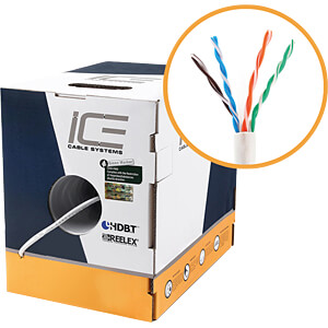 Cat.6 Verlegekabel, UTP, 23AWG, 305m ICE  CABLE ICE-CAT6-BLACK