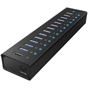 USB 3.0 HUB 13-Port + 1x Ladeport, Aktiv ICYBOX 70420