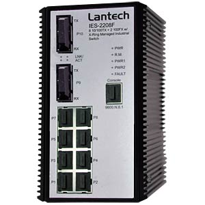 Hutschienen-Switch, 8 x10/100TX, 2x 100FX SC MM, SNMP LANTECH IES-2208F-SC-MM
