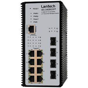 Switch, 8-Port, Gigabit Ethernet, SFP LANTECH IES-3408GSFP