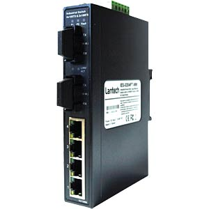 Industrie Switch 4x10/100TX-2x100FX - Hutschi. LANTECH IES-0204FT-SC/MM