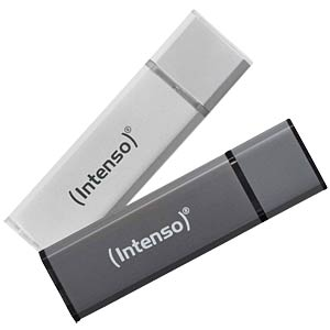 USB 2.0-stick 64GB Alu Line zilver INTENSO 3521492