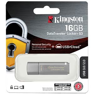 DataTraveler Locker+ G3 USB 3.0 stick, 16 GB KINGSTON DTLPG3/16GB