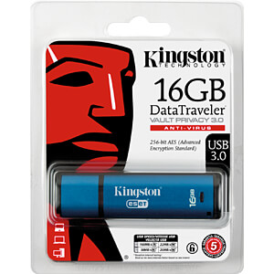 USB Stick, USB 3.0, 16 GB, DataTraveler Vault Privacy AV KINGSTON DTVP30AV/16GB