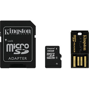 MicroSDHC-kaart 16GB - Kingston Multi-Kit KINGSTON MBLY4G2/16GB