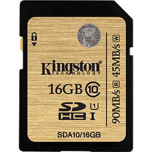 SDHC-Speicherkarte 16GB, Kingston Class 10 KINGSTON SDA10/16GB