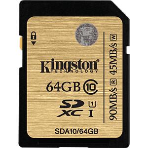 SDXC-kaart 64GB, Kingston Class 10 KINGSTON SDA10/64GB
