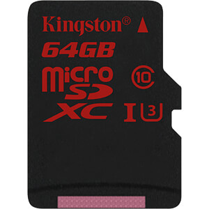 MicroSDXC-Speicherkarte 64GB - Kingston Class U3 KINGSTON SDCA3/64GBSP