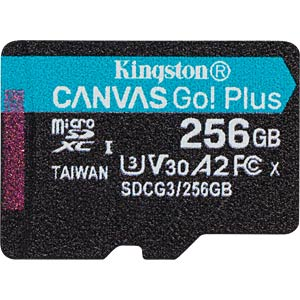 MicroSDXC memory card, 256 GB, Canvas Go Plus KINGSTON SDCG3/256GBSP