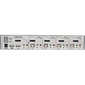 LINDY 4 Port DisplayPort 1.2 KVM Switch Pro Audio USB 2.0