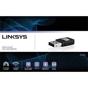 Linksys Wireless-AC USB Adapter Dual-Band LINKSYS AE6000