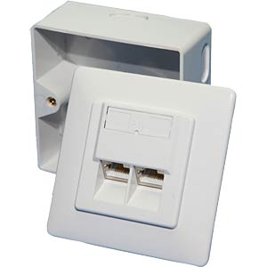 Surface-mounted/flush-mounted box, CAT6, fully shielded, RAL9010 LOGILINK NP0006