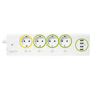 logilink pa0130  LOGILINK PA0130: Smart Outlet Strip with 4x USB, metering at ...