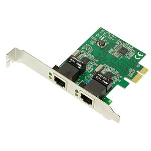 Netzwerkkarte, PCI Express, Gigabit Ethernet, 2x RJ45 LOGILINK PC0075