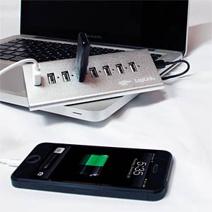USB 2.0 seven-port hub with power supply unit, aluminium LOGILINK UA0225