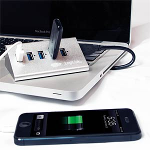 ALUMINIUM USB 3.0 HUB 4+1 Schnelladeport LOGILINK UA0227