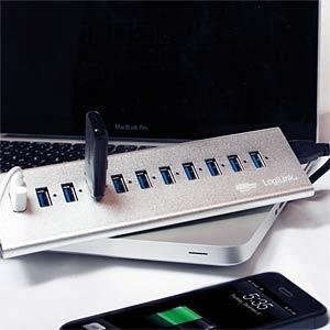 ALUMINIUM USB 3.0 HUB 10+1 Schnelladeport LOGILINK UA0229