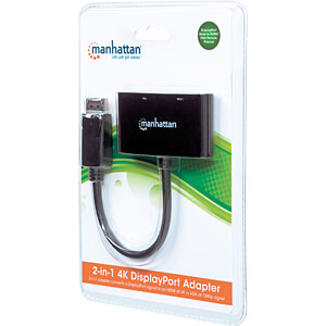 2-in-1 DisplayPort-Adapter, DP-Stecker > HDMI/VGA-Buchse MANHATTAN 152587