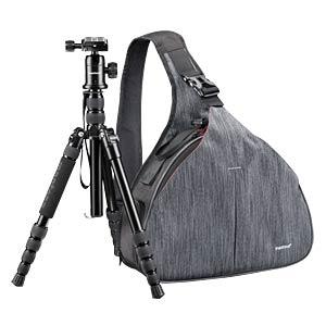 Fotografie, Tasche, Triangel grau, inkl. DSLM-Stativ MANTONA 20368