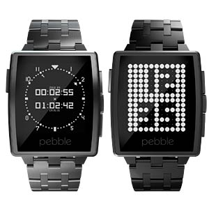 Pebble Steel Smartwatch, Leder, silber PEBBLE 401SLR