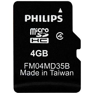 Micro SDHC card, 4 GB, Philips class 4 PHILIPS FM04MD35B/10