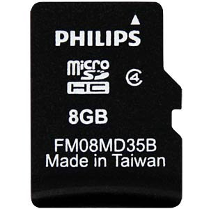 MicroSDHC-Card 8GB, Philips Class 4 PHILIPS FM08MD35B/10