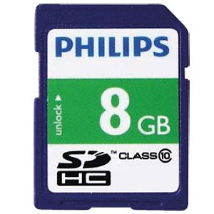 SDHC card, 8 GB, Philips class 10 PHILIPS FM08SD45B/10