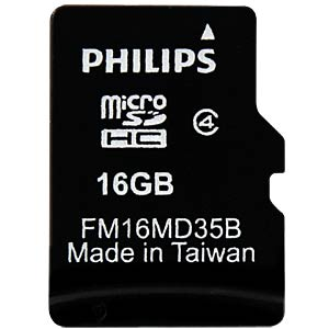 Micro SDHC card, 16 GB, Philips class 4 PHILIPS FM16MD35B/10