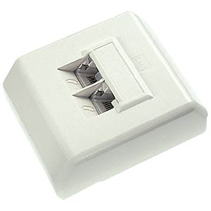 2-way RJ45 junction box, cat. 5e, surface-mounted FREI