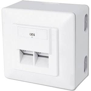 2-way RJ45 junction box, cat. 6, surface/flush-mounted FREI