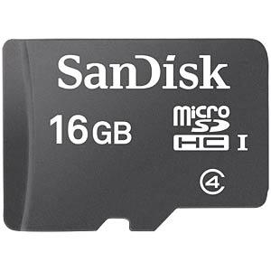MicroSDHC-kaart 16GB - SanDisk met adapter SANDISK SDSDQM-016G-B35A
