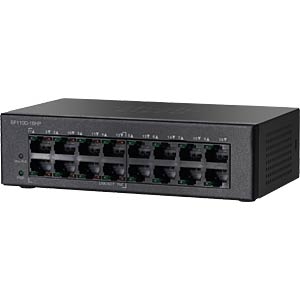 CISCO 10/100 16-port PoE unma.Desktop Switch CISCO SF110D-16HP-EU