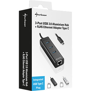 USB 3.0 HUB 3-port / RJ45, Typ C, Aluminium, schwarz SHARKOON 4044951019038