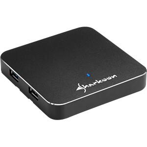 USB 3.0 HUB 4-port, Slim, Aluminium, schwarz SHARKOON 4044951017614