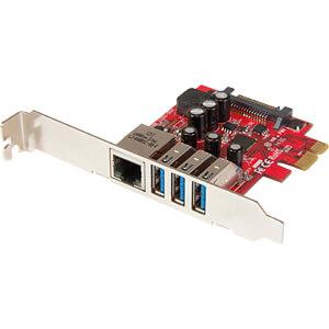 PCIe card, 3 port USB 3.0, optional low profile, with GbE STARTECH.COM PEXUSB3S3GE