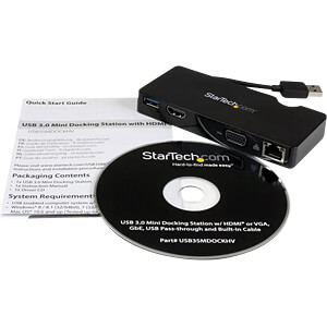 Reisedockingstation, USB 3.0, Laptop STARTECH.COM USB3SMDOCKHV