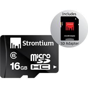 MicroSDHC-Speicherkarte 16 GB, Strontium mit Adapter STRONTIUM SR16GTFC6A