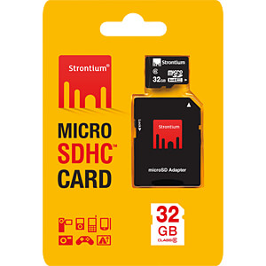 MicroSDHC-geheugenkaart 32 GB Strontium met adapter STRONTIUM SR32GTFC6A