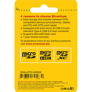 Card Reader, extern, USB 2.0, micro USB STRONTIUM SRACCOTG-2ABGW