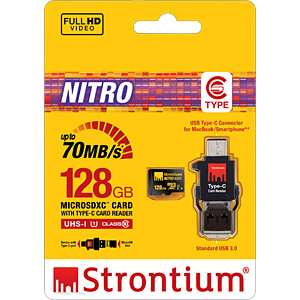 MicroSDXC-Speicherkarte 128GB, Strontium Class 10 mit Typ C Adap STRONTIUM SRN128GTFU1P