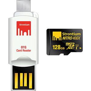 MicroSDXC-Speicherkarte 128GB, Strontium Class 10 mit OTG Adapte STRONTIUM SRN128GTFU1T